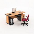 Meja Kantor HighPoint Five Series Cherry Workstation-1