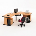 Meja Kantor HighPoint Five Series Cherry Workstation-2