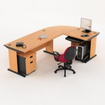 Meja Kantor HighPoint Five Series Cherry Workstation-3