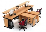 Meja Kantor HighPoint Five Series Cherry Workstation-4