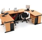 Meja Kantor HighPoint Five Series Cherry Workstation-5