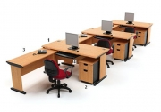 Meja Kantor HighPoint Five Series Cherry Workstation-6